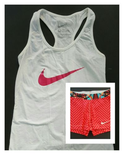 Lot of 2 Womens Sz S Nike Athletic White Tank + Neon Orange Running Shorts