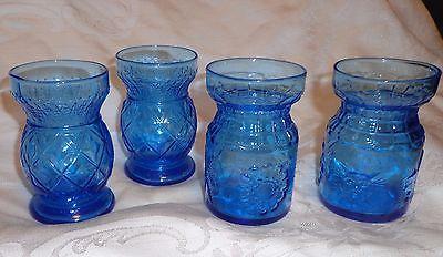 BLUE GLASS VASES DIAMOND * FLOWER * SUN DESIGNS  4 VASES... 3.5