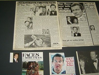 SET OF MAGAZINE CLIPPINGS Roger Moore james bond oo7 80's