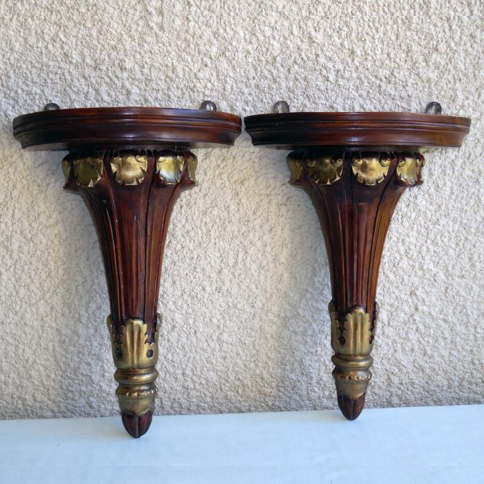 BEAUTIFUL PAIR OF VINTAGE HAND CARVED FLUTED WOOD WALL SHELF SCONCES