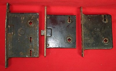 LOT OF 3 ANTIQUE READING HARDWARE CO RHC MORTISE LOCK SETS ONE IS DOUBLE LOCK