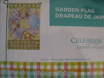 Easter Home and Garden flag, WELCOME with a wreath of easter eggs, NIP