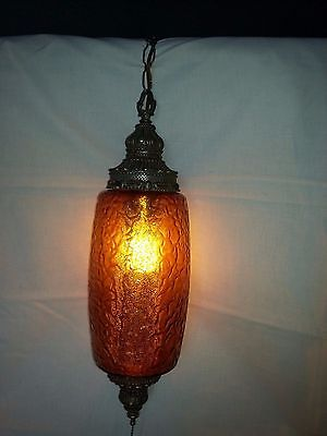 Mid Century Swag Lamp Amber Glass With Diffuser Price Reduced