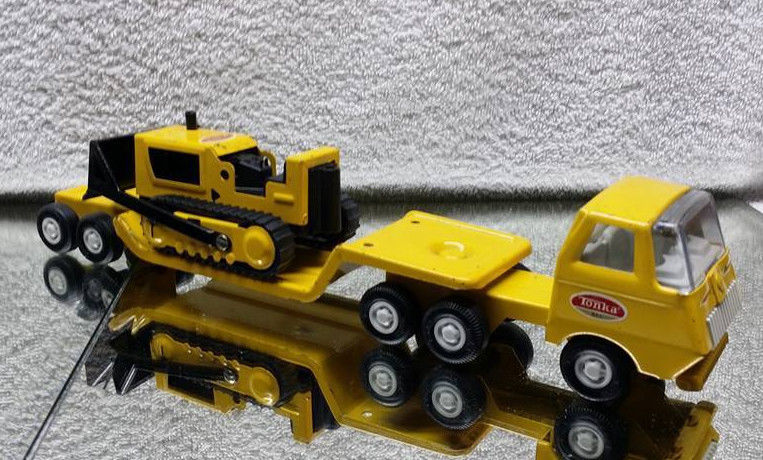 Vintage Tonka Truck & Lowboy Trailer with Tractor