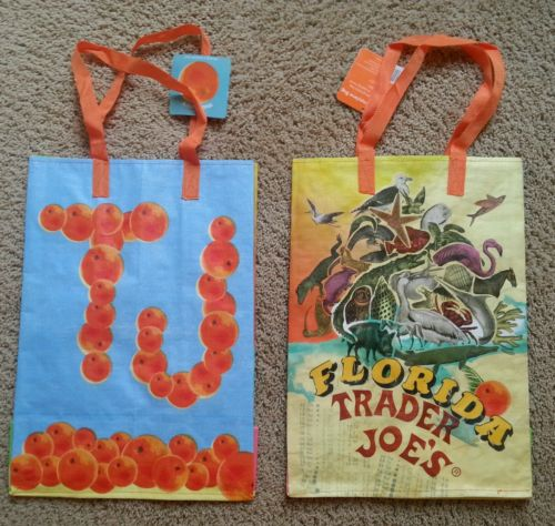 Florida From State Collection Series Reusable Shop Tote Trader Joe - 2 Bag Set