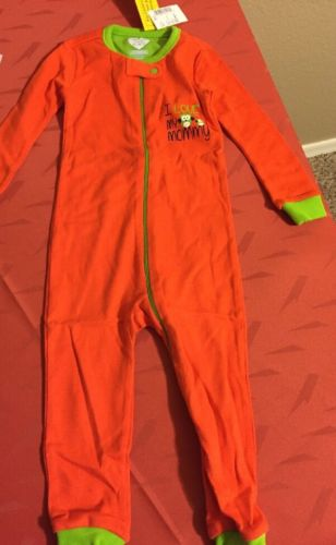 NWT Children Place 18 - 24 Months  Boy Orange Pj 1 Piece Zipper No Footies