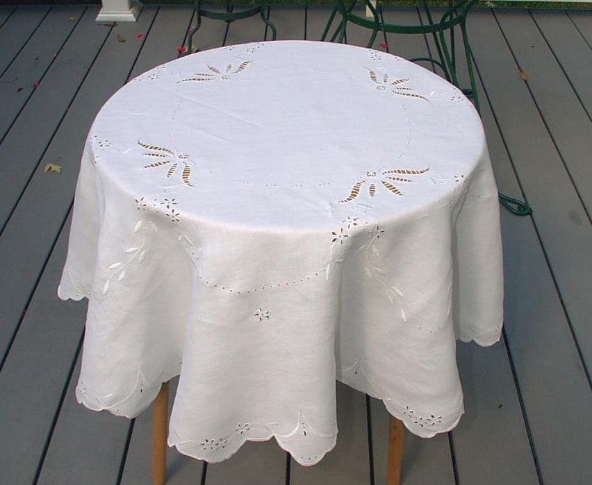Vintage Small Tablecloth White Round Embroidered Cut