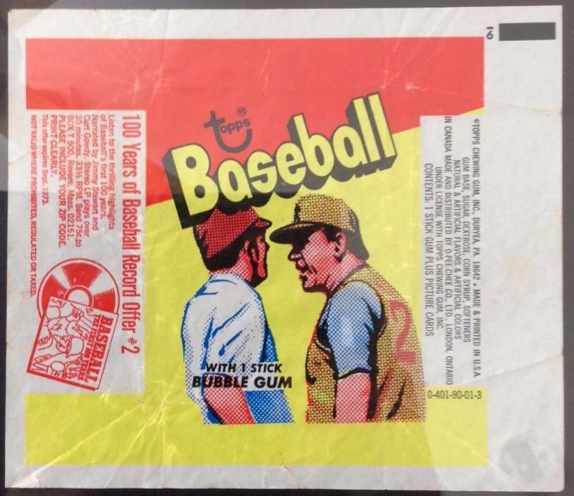 1973 Topps Baseball Card Set Wax Pack Wrapper 100 Years of Record