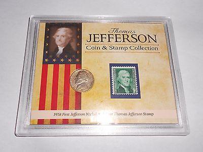 1938 First Thomas Jefferson Nickle & 1 Cent Stamp Set
