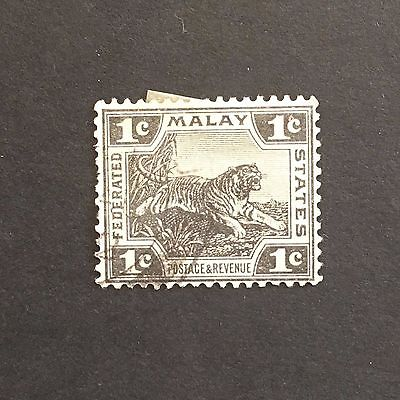 OLD STAMPS: 1C MALAY FEDERATED STATES TIGER USED MALAYSIA STAMP CANCELLED HINGED