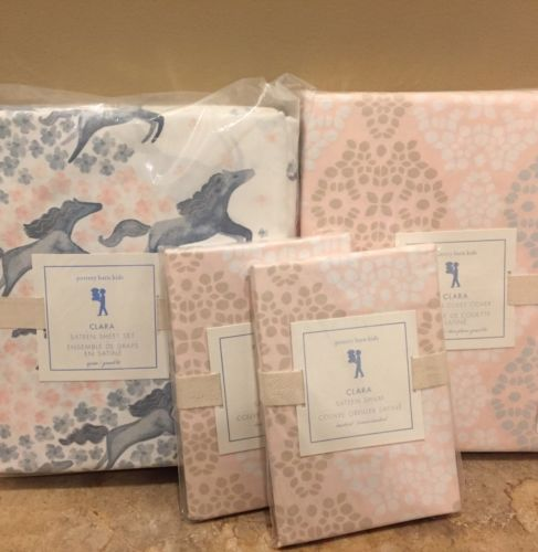NEW 7PC Pottery Barn Kids Clara Sateen FQ Duvet 2 Shams + QUEEN Sheet Set HORSES