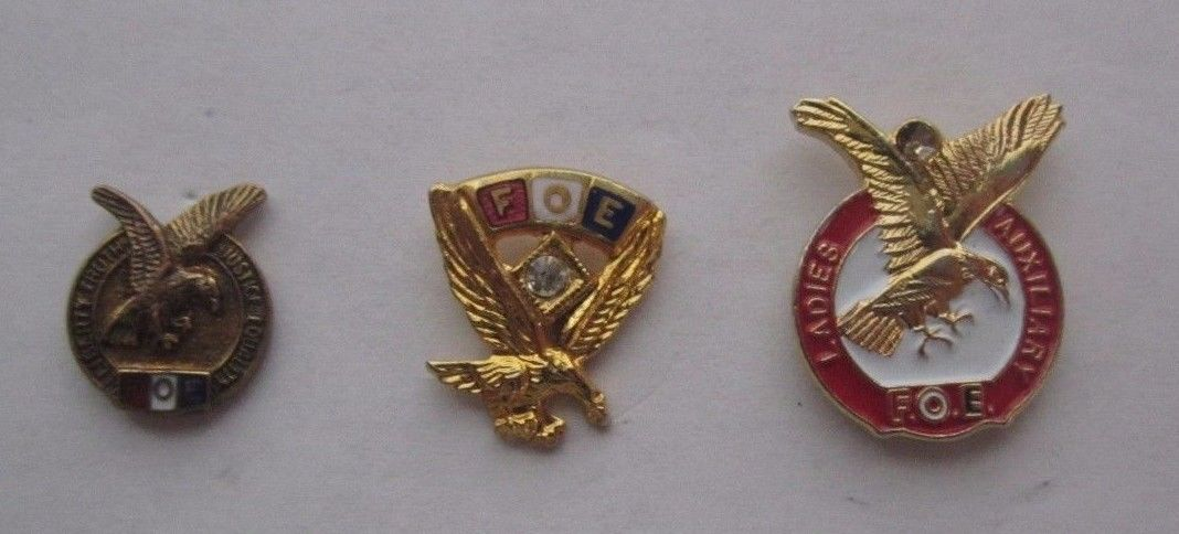 3 Vintage Fraternal order of Eagles Garrison hat pins Original 1 ladies Aux FOE