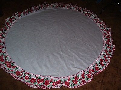 Collectible Christmas Tablecloth Round 67 Inch Diameter White Poinsettia Hem