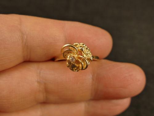 14K GOLD MODERNIST NUGGET STYLE RING W/ DIAMOND 3.6 GMS VINTAGE TUCSON ESTATE