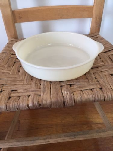 Vintage Fire King Ivory Oven Glass Baking Pan Casserole Dish
