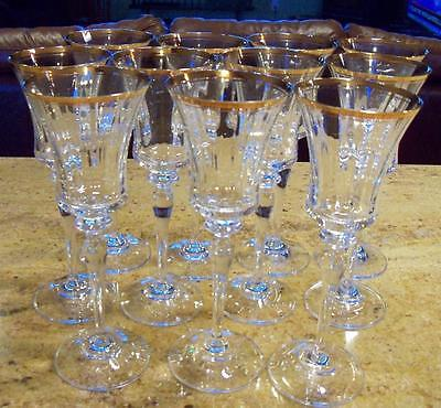 11 Mikasa Crystal  Jamestown Gold Trim Wine Glasses Stems Goblets
