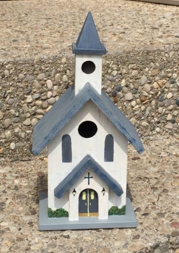 Wooden Hand Painted Birdhouse 2-Story Country Rural Farmhouse Church