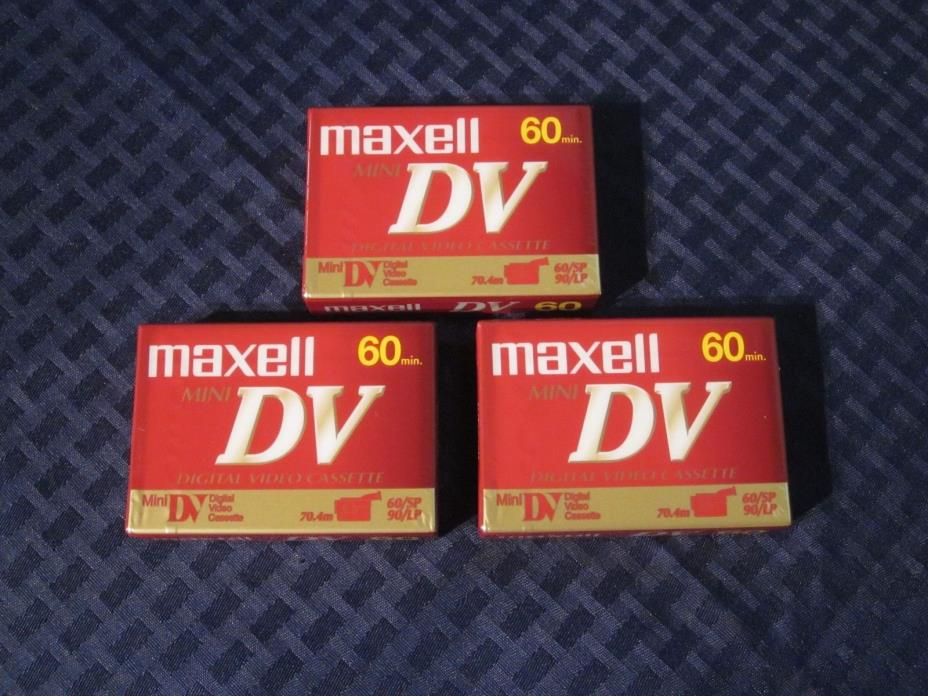 Lot of 3 Maxell Mini DV60 Digital Video Cassettes. New/Sealed. JAPAN.