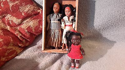 NEAT VINTAGE RUBBER DOLL WITH 2 FREE BONUS DOLLS FOR REPAIR