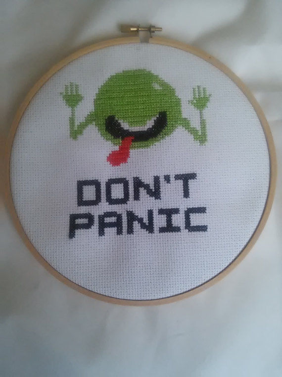 Hitchhikers Guide to the Galaxy Cross Stitch, dont panic, wall decor