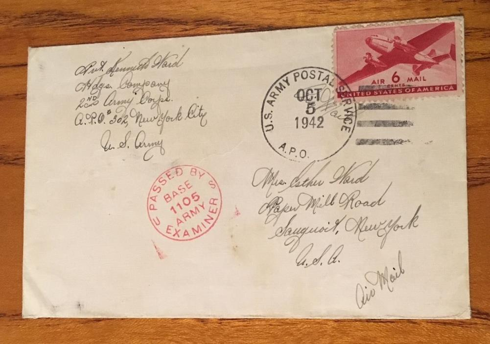 Vintage Envelope mailed in 1942 with 6 Cent  Air Mail Stamp (Just Envelope)