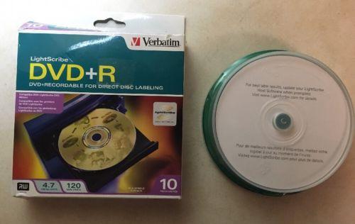 10 Pack VERBATIM Lightscribe DVD+R 4.7GB 120 min