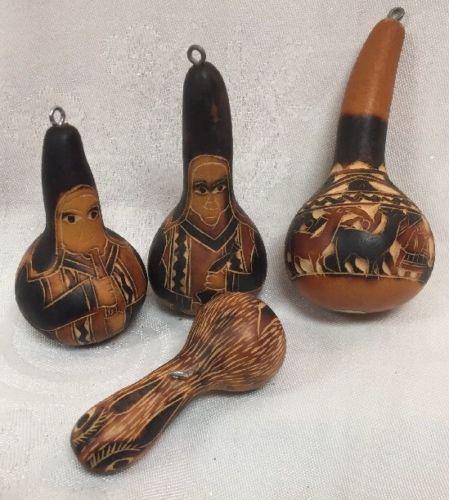 Vintage Peru Gourd Ornaments 1 Bird 2 Musicians 1 Animals Natural Christmas
