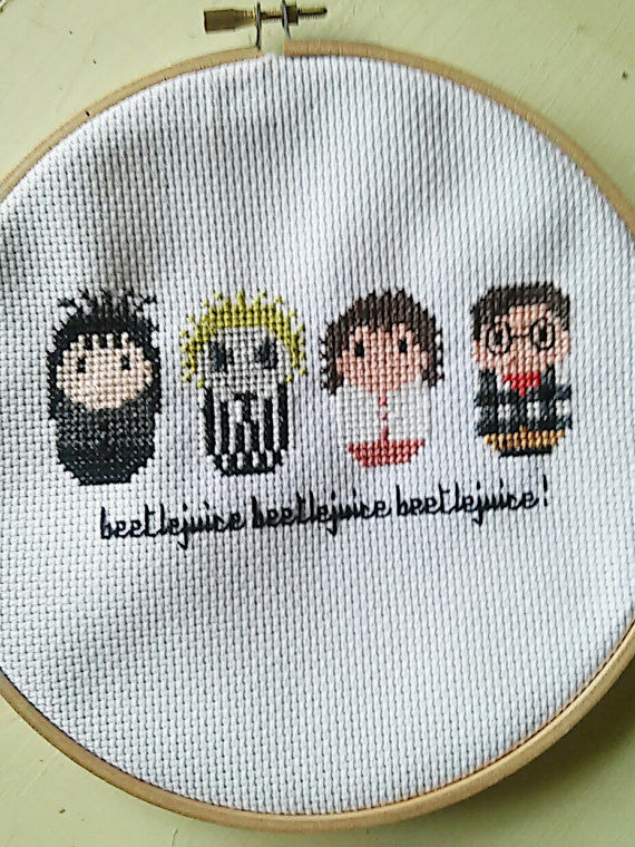 beetlejuice cross Stitch, cult classic wall decor