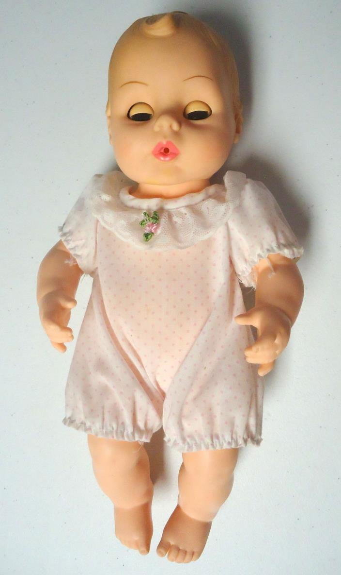 Horsman Baby Doll 1977 With Pink Dress Drinks and Wets Vintage Doll