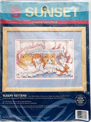 Sleepy Kittens cross stitch kit Sunset 1993 New cats kitties