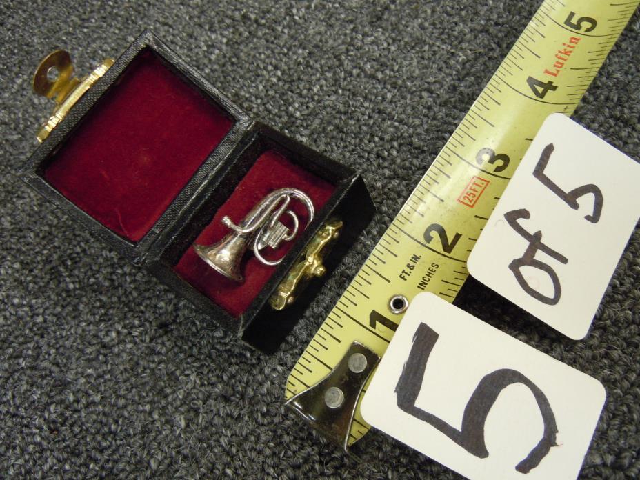 Flugel Horn Pin Pendant Brooch Tie Tack Jewelry metal instrument w/ wood case !