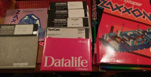 synapse commodore 64/atari floppy disk lot, sentinel, blue max