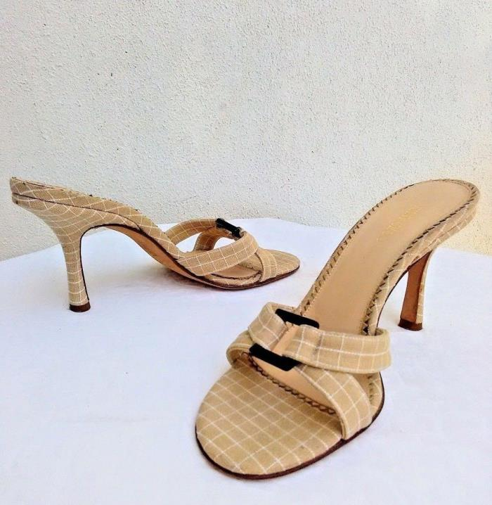 Jimmy Choo Cruise Womens Beige Off White Canvas Check Mules Sandal Shoes IT 36.5