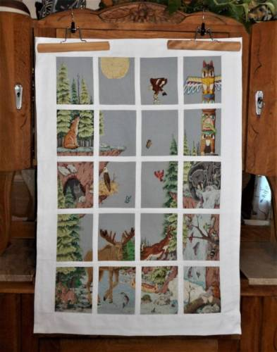 Forest Animals Cabin Hunting Decor Finished Wall Hanging Tapestry Cross Stitch