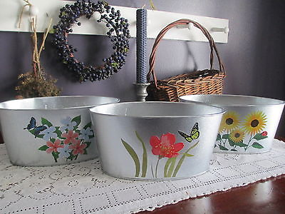 Galvanized Metal Containers Country Decor Flowers Garden Tins - Set of 3