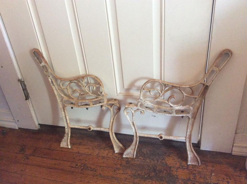 Vintage antique ornate Childs Cast Iron Garden Bench Base Legs