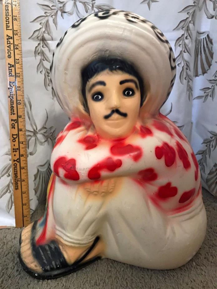 Huge Mexican Pottery Bank Folk Art Seated Mexican Sombrero Huarache bottom mark