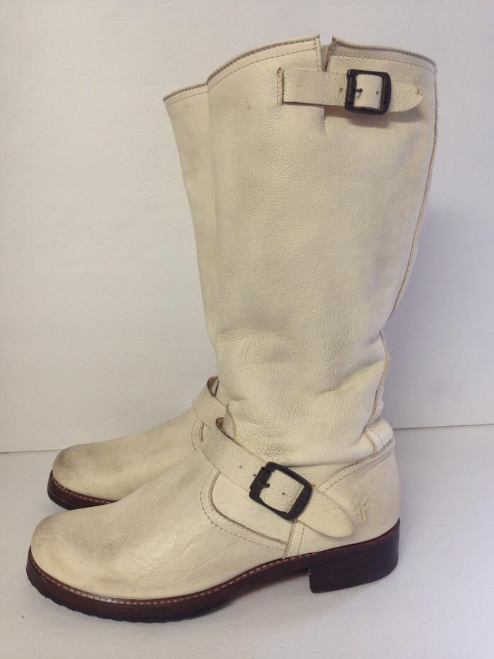 Frye Womens Pre Owned Cream Leather Boots 10