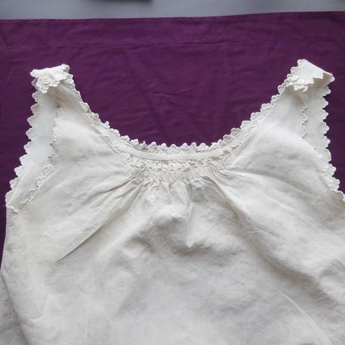 Vintage Linen Chemise French Nightgown Embroidered Large Antique Textiles Bed