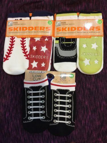 Lot Of 3 Skidders Socks Boys Gripper Socks 24 Months 2 Years Shoe 8 ,