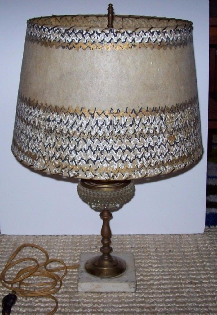 Vintage Crystal & Hand Painted Parchment Shade Table Lamp Brass Marble Base 21