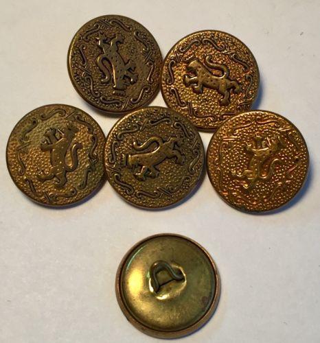 Vintage Lot of 6 Metal - Lions w/ Crown Crest 3/4