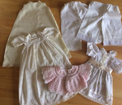 Nice Antique/vintage Doll Dress And Slip bloomers -very Good Old Condition