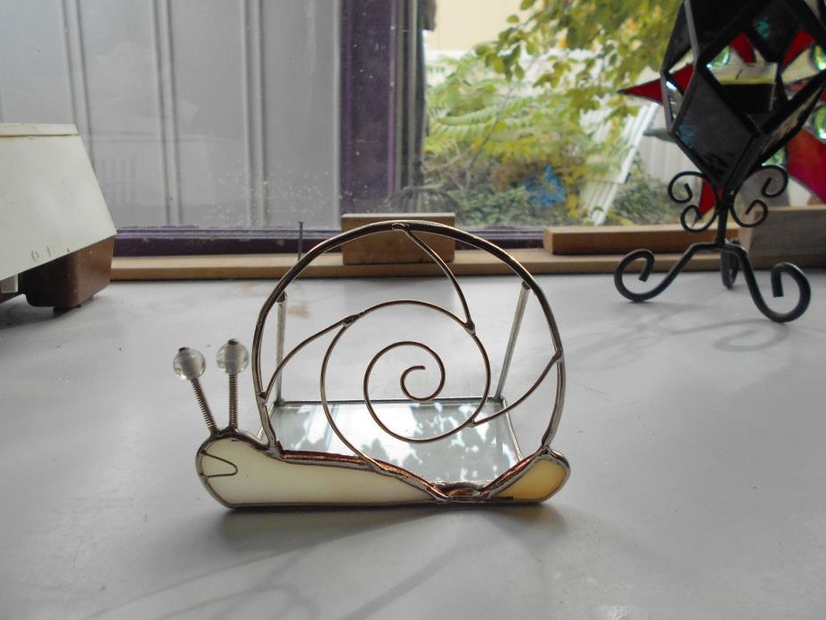 STAINED GLASS SNAIL CARD HOLDER