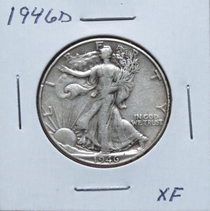 1946D XF Problem Free Walking Liberty Half Dollar 7F12VGA
