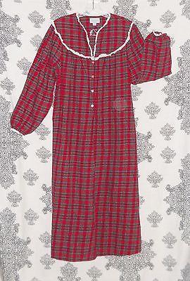 LANZ OF SALZBURG Granny Gown Red Plaid 100% Cotton Eyelet Trim Size M