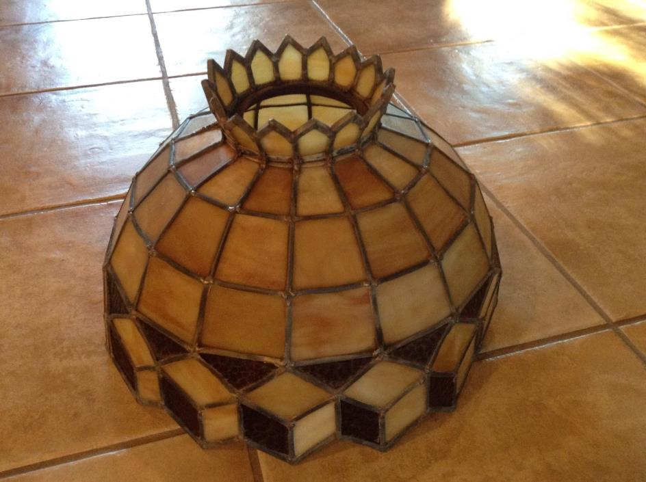 Vintage Stained Glass Leaded Lamp Shade