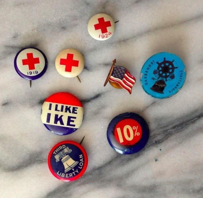 8 Vintage Antique Pins, American Red Cross, I Like Ike, Russian Boat 1919-50s