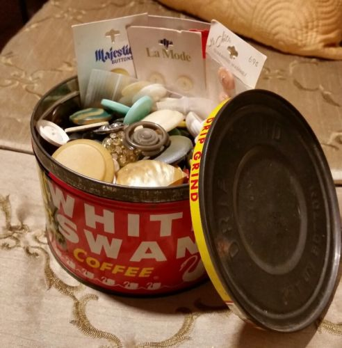 estate sale vintage button lot in old coffee tin!!