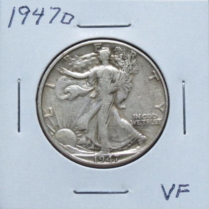 1947D VF Problem Free Walking Liberty Half Dollar 7F12VGA